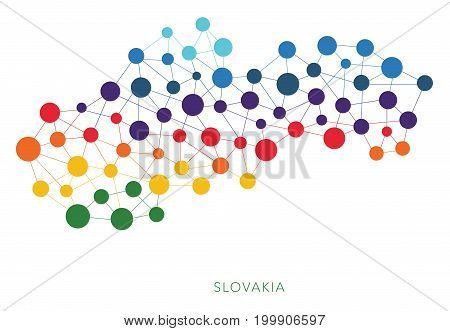 dotted texture Slovakia vector rainbow colorful background