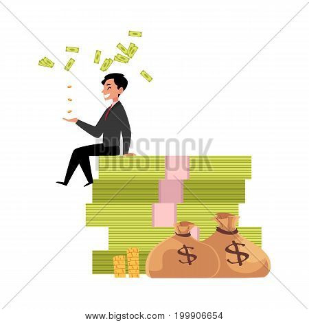 vector office worker sitting on bundle of money with big gold bags near. Flat cartoon isolated illustration on a white background. Happy smiling man character Money success profit and richness concept