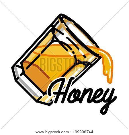 Color vintage honey emblem for your design. Vector illustration, EPS 10