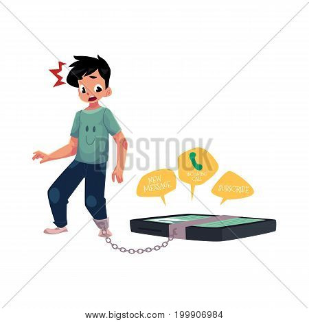 Teenage boy with huge smartphone chained to leg, phone dependence concept, cartoon vector illustration isolated on white background. Boy chained to huge phone, dependence on likes, calls, messages