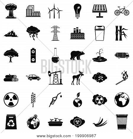 Eco icons set. Simple style of 36 eco vector icons for web isolated on white background