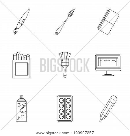 Stationery icons set. Outline set of 9 stationery vector icons for web isolated on white background