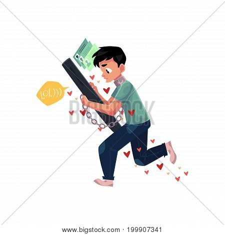 Teenage boy chained to huge smartphone, unable to let it go, phone dependence, cartoon vector illustration isolated on white background. Boy chained to huge phone, dependence on chatting