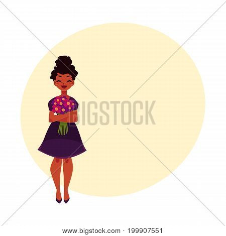 Black, African American woman, girl holding bunch of field flowers, cartoon vector illustration with space for text. Full length portrait of happy black girl, woman with bunch of flowers
