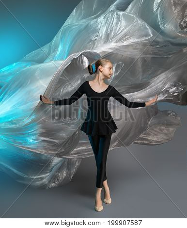 Girl In Black Clothes In The Studio On The Background Of Flying Polyethylene Film