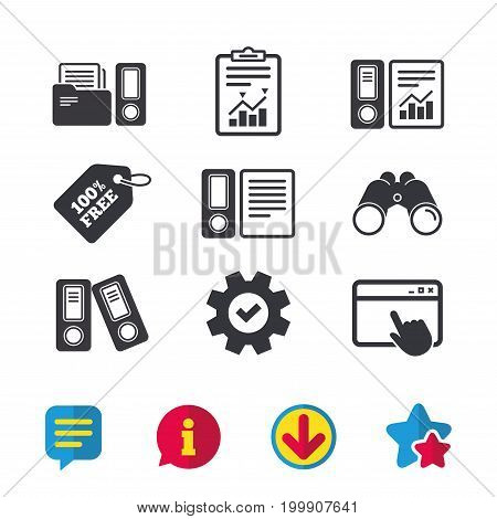 Accounting report icons. Document storage in folders sign symbols. Browser window, Report and Service signs. Binoculars, Information and Download icons. Stars and Chat. Vector