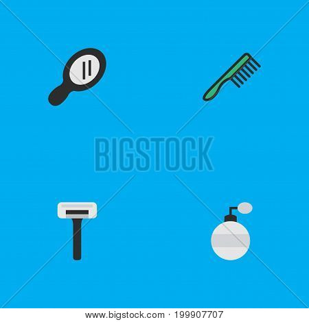 Elements Glass, Fragrance, Shaver And Other Synonyms Shaver, Comb And Hairbrush.  Vector Illustration Set Of Simple Hairdresser Icons.