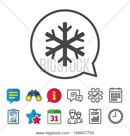 Snowflake sign icon. Air conditioning symbol. Information, Report and Calendar signs. Group, Service and Chat line icons. Vector