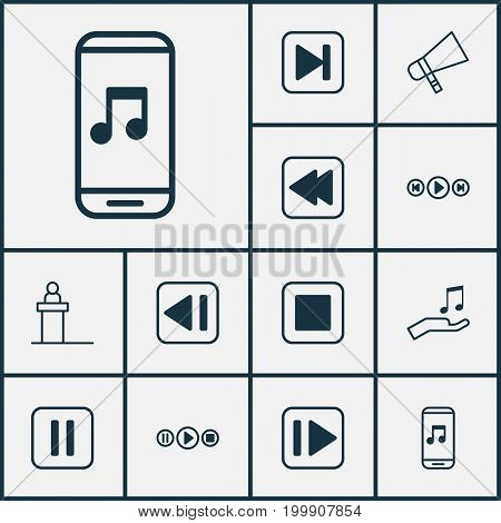 Audio Icons Set. Collection Of Song UI, Bullhorn, Audio Mobile And Other Elements