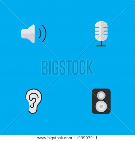Elements Listen, Speaker, Loudness And Other Synonyms Speaker, Loudspeaker And Listen.  Vector Illustration Set Of Simple  Icons.