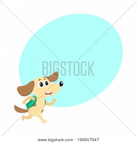 Cute little dog, puppy student character with backpack hurrying to school, cartoon vector illustration with space for text. Little dog, puppy student with backpack, back to school concept
