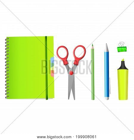 Back to School. Back to School realistic iIsolated objects. Isolated school supplies white background. Vector illustrations.