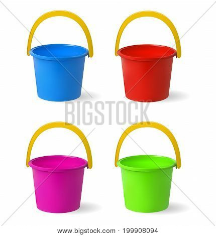 Colored baby buckets. Set of multi-colored buckets for playing in sandbox. Isolated objects on white background. Vector illustration.