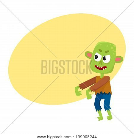 Scary little green zombie monster in rags, Halloween costume, cartoon vector illustration with space for text. Monster, zombie, walking dead with arms stretched forward