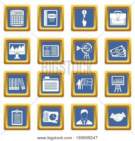 Business plan icons set in blue color isolated vector illustration for web and any design