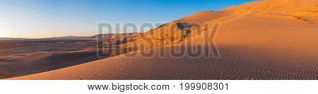 beautiful evening landscape in desert against the sky