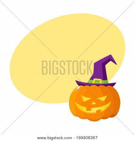 Jack o lantern, orange pumpkin in pointed witch hat, traditional Halloween symbol, cartoon vector illustration with space for text. Halloween pumpkin, jack o lantern in pointed wizard hat