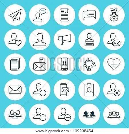 Social Icons Set. Collection Of Add, Communication, Group And Other Elements