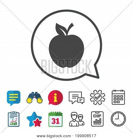 Apple sign icon. Fruit with leaf symbol. Information, Report and Calendar signs. Group, Service and Chat line icons. Vector