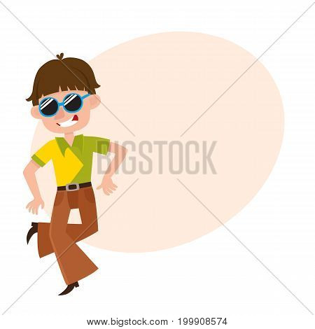 Young man in retro sunglasses and bell-bottomed trousers dancing dicso, cartoon vector illustration with space for text. Young man, guy in bell-bottomed pants dancing at retro disco party