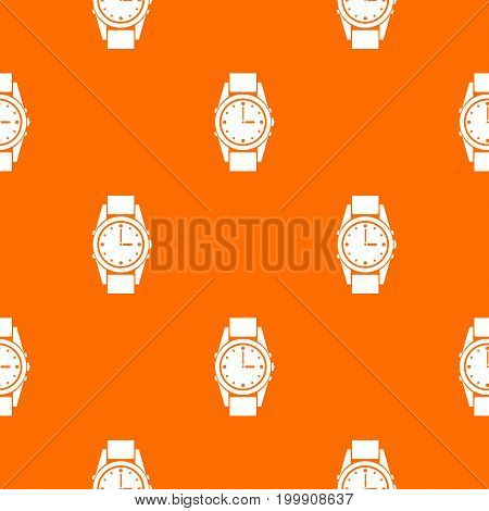 Swiss watch pattern repeat seamless in orange color for any design. Vector geometric illustration