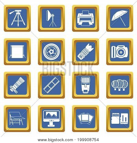Photo studio icons set in blue color isolated vector illustration for web and any design