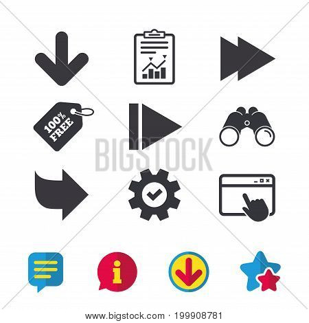 Arrow icons. Next navigation arrowhead signs. Direction symbols. Browser window, Report and Service signs. Binoculars, Information and Download icons. Stars and Chat. Vector