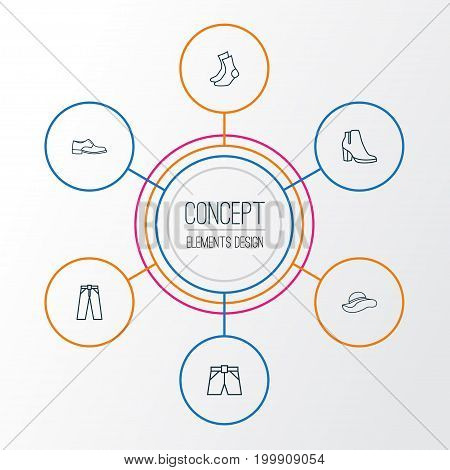Clothes Outline Icons Set. Collection Of Boots, Heels, Half-Hose And Other Elements