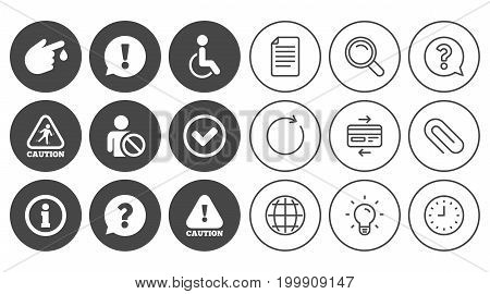 Caution and attention icons. Question mark and information signs. Injury and disabled person symbols. Document, Globe and Clock line signs. Lamp, Magnifier and Paper clip icons. Vector