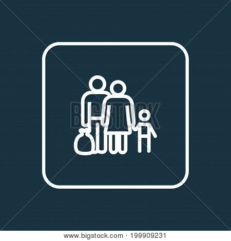 Premium Quality Isolated Fugitive  Element In Trendy Style.  Refugee Outline Symbol.