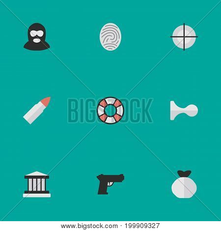 Elements Weapon, Lifesaver, Hunting And Other Synonyms Grille, Jail And Goal.  Vector Illustration Set Of Simple Criminal Icons.
