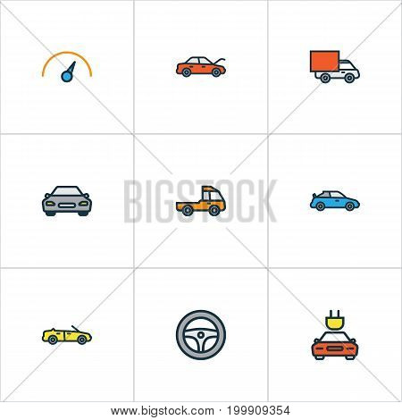 Car Colorful Outline Icons Set. Collection Of Speed, Bonnet, Cabriolet And Other Elements