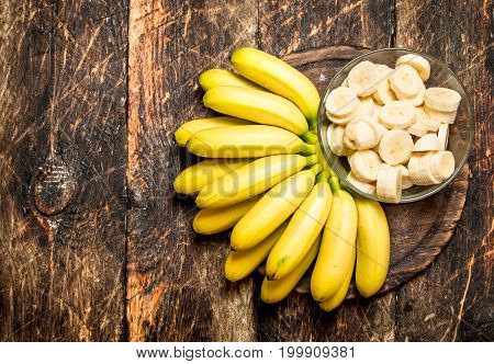 Bunch Of Banana Slices In A Bowl.