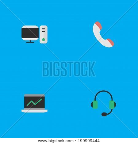 Elements Telephone, Microphone, Notebook And Other Synonyms Computer, Phone And Headphone.  Vector Illustration Set Of Simple Instrument Icons.