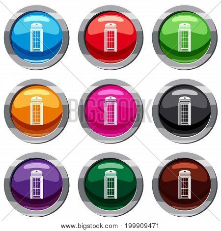 Phone booth set icon isolated on white. 9 icon collection vector illustration