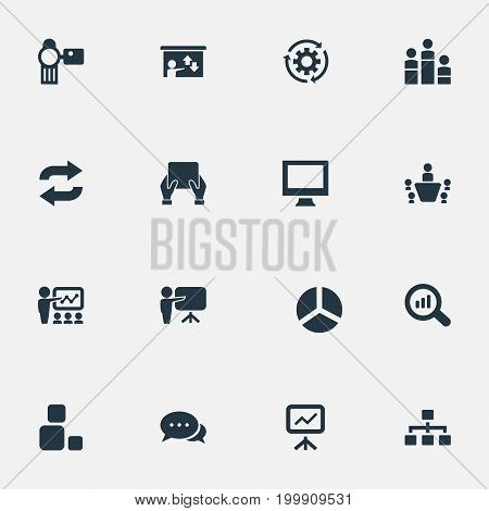 Elements Coach, Search, Monitor And Other Synonyms Coach, Display And Video.  Vector Illustration Set Of Simple Seminar Icons.