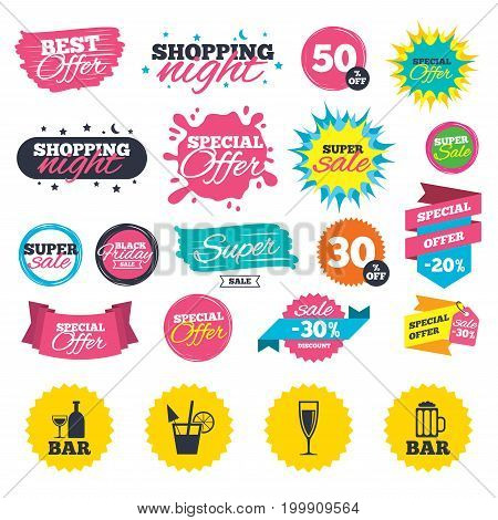 Sale shopping banners. Bar or Pub icons. Glass of beer and champagne signs. Alcohol drinks and cocktail symbols. Web badges, splash and stickers. Best offer. Vector