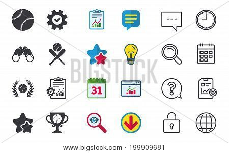 Baseball sport icons. Ball with glove and two crosswise bats signs. Winner award cup symbol. Chat, Report and Calendar signs. Stars, Statistics and Download icons. Question, Clock and Globe. Vector