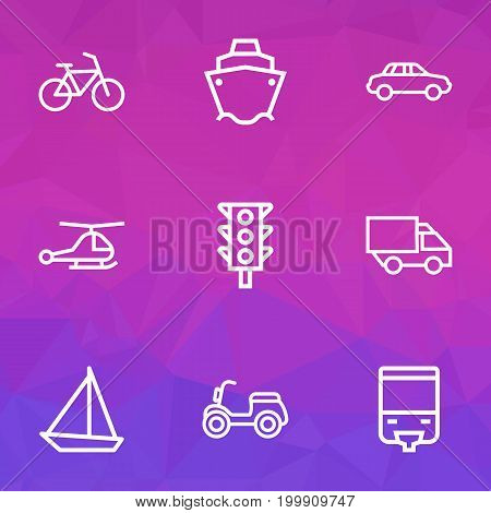 Transport Outline Icons Set. Collection Of Camion, Tram, Sailing Ship And Other Elements