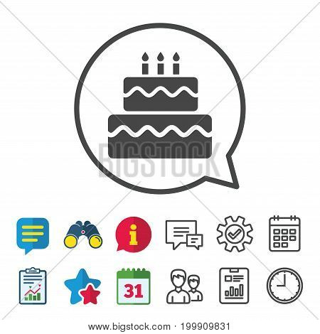 Birthday cake sign icon. Cake with burning candles symbol. Information, Report and Calendar signs. Group, Service and Chat line icons. Vector