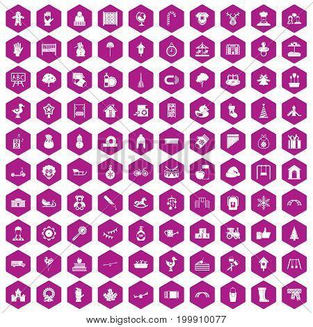 100 kindergarten icons set in violet hexagon isolated vector illustration