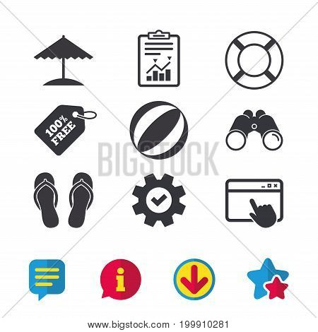 Beach holidays icons. Ball, umbrella and flip-flops sandals signs. Lifebuoy symbol. Browser window, Report and Service signs. Binoculars, Information and Download icons. Stars and Chat. Vector