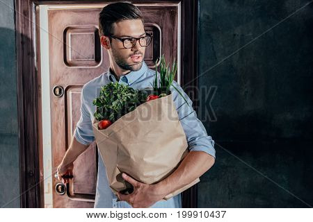 Attractive Young Man Arrived From Grocery Store