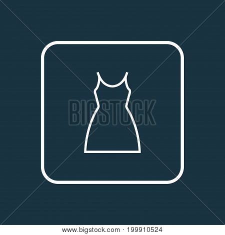 Premium Quality Isolated Gown Element In Trendy Style.  Dress Outline Symbol.