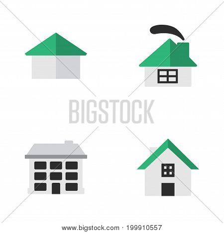 Elements Structure, Home, Dwelling And Other Synonyms House, Building And Home.  Vector Illustration Set Of Simple Estate Icons.