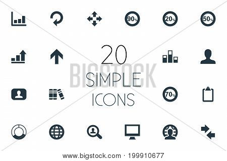Elements Upward, Line Chart, Clipboard And Other Synonyms Analytics, Display And Chart.  Vector Illustration Set Of Simple Diagram Icons.