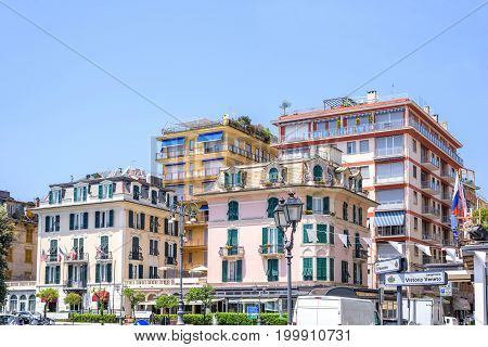 Daylight beautiful view to colorful buildings of Rapallo city in Italy