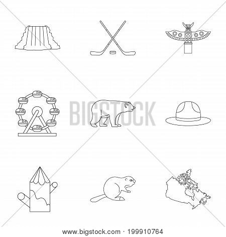 Country of Canada icon set. Outline style set of 9 country of Canada vector icons for web isolated on white background