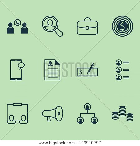 Human Icons Set. Collection Of Bullhorn, Find Employee, Partnership And Other Elements