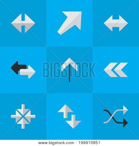 Elements Cursor, Everyway, Up And Other Synonyms Back, Chaotically And Inside.  Vector Illustration Set Of Simple Cursor Icons.